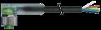 M12 F uhlovy, 3x LED / volny konec