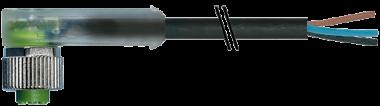 M12 F uhlovy, 2xLED / volny konec - ochrana prepolovani