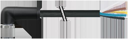 M12 Power F uhlovy / volny konec - L-kodovani, 5pin