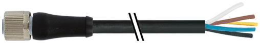 M12 Power F primy / volny konec - L-kodovani, 5pin